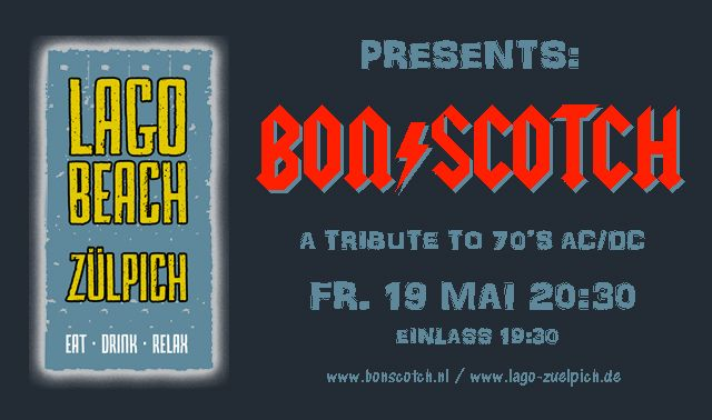 flyer, lago beach, Zuelpich, zulpich, duitsland, deutchland, bon scotch, ac/dc tribute