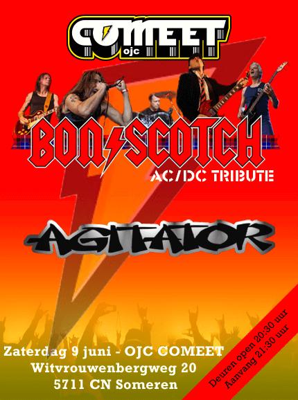 flyer, comeet someren, bon scotch, agitator, acdc tribute