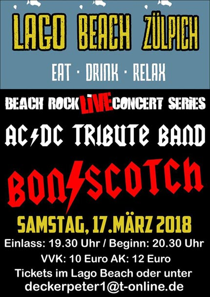 flyer, lago beach, Zuelpich, zulpich, Zülpich, duitsland, deutschland, bon scotch, ac/dc tribute, 17 marz, beach rock