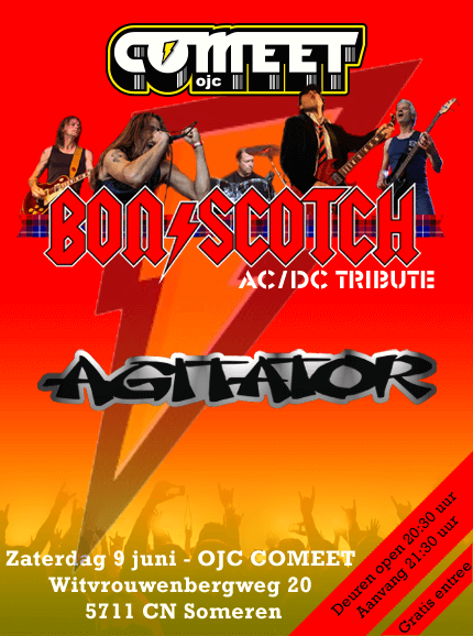 flyer, comeet someren, bon scotch, agitator, acdc tribute, 9 juni 2018, gratis entree