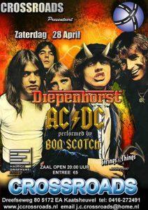 flyer, crossroads, kaatsheuvel, bon scotch, ac/dc tribute, 28 april, diepenhorst