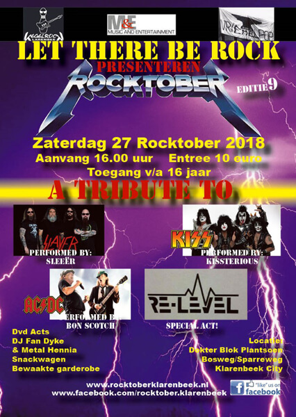 flyer, rocktober, klarenbeek, bon scotch, ac/dc, sleeer, slayer, kissterious, kiss, re-level, tribute, festival, 27-10-2018