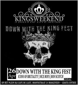 flyer, down with the king fest, 2019, hoogeveen, 26 april, bon scotch, ac/dc tribute, nice boys, icons of brutality