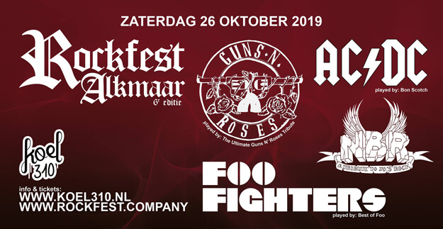 flyer, rockfest, alkmaar, 2019, koel310, 26 oktober, ac/dc, tribute band, bon scotch, best of foo, ultimate guns n roses, nbr
