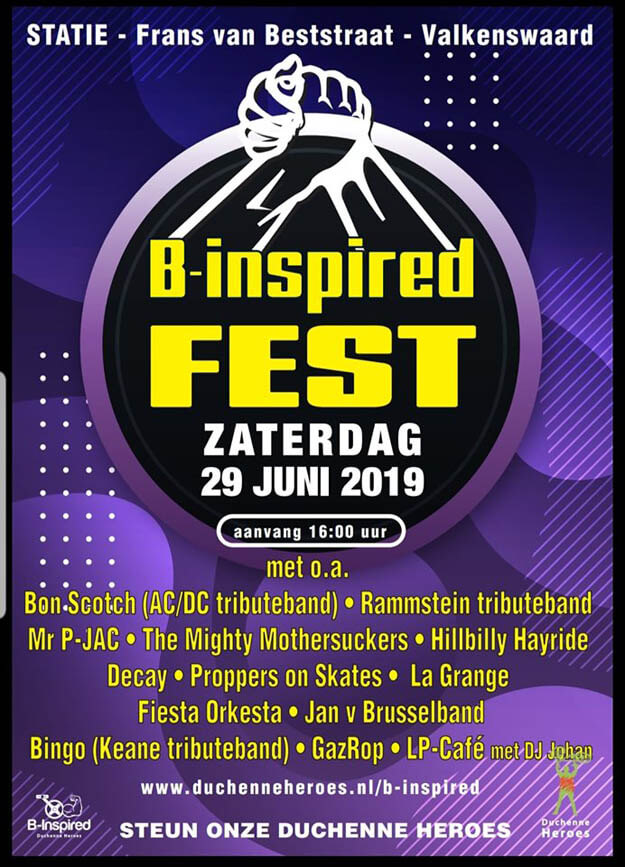 B-inspired fest, festival, valkenswaard, 2019, 29 juni, bon scotch, ac/dc tribute, benefiet festival tegen duchenne