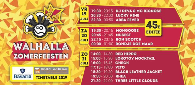 walhalla, zomerfeesten, 2019, deurne, 20 juli, bon scotch, ac/dc tribute band, timetable