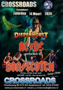 flyer, crossroads, kaatsheuvel, bon scotch, ac/dc tribute, 14 maart 2020, diepenhorst