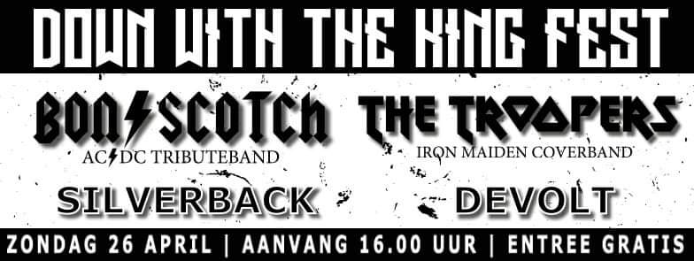 flyer, down with the king fest, 2020, hoogeveen, 26 april, bon scotch, ac/dc tribute, the troopers, silverback, devolt. gratis entree