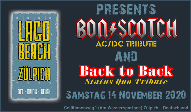 flyer, lago beach, Zuelpich, zulpich, duitsland, deutschland, bon scotch, ac/dc tribute, 14 november, status quo tribute, back to back