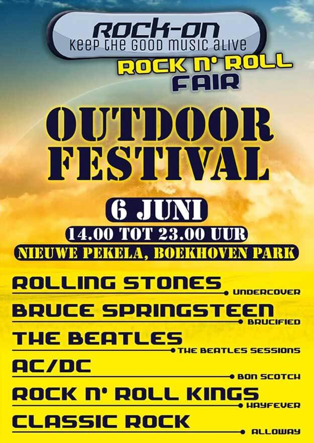 rock-on, outdoor festival, 6 juni 2020, Undercover (Rolling Stones), Brucified (Bruce Springsteen), The Beatles Sessions (The Beatles), Hayfever (rock'n'roll uit de jaren vijftig en zestig), Alloway (zeskoppige coverband) en Bon Scotch (AC/DC)