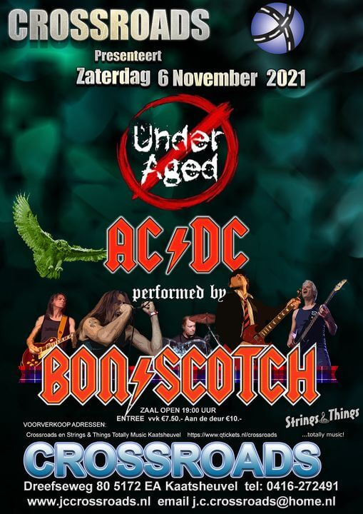 jc, crossroads, kaatsheuvel, bon scotch, ac/dc tribute, underaged, 6 november 2021